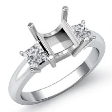 Three Stone Diamond Semi Mount Engagement Ring Princess Setting 14K W Gold 1/2Ct