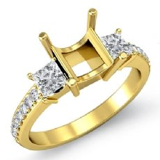 Princess Diamond Engagement 3 Stone SemiMount Ring 14k Gold Yellow Pave Setting  (0.81Ct. tw.)