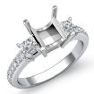 Princess Diamond Engagement 3 Stone SemiMount Ring 14k White Gold Pave Setting 0.81Ct - javda.com