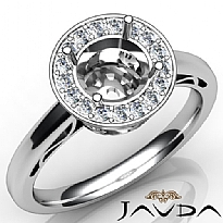 Round Shape Diamond Engagement Ring Halo Setting 14K White Gold SemiMount 0.36Ct