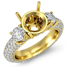 Three 3 Stone Round Diamond Engagement Ring Setting 14k Gold Yellow Semi Mount  (2.64Ct. tw.)