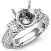 Three 3 Stone Round Diamond Engagement Ring Setting 18k Gold White Semi Mount 2.64Ct
