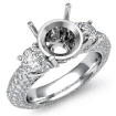 Three 3 Stone Round Diamond Engagement Ring Setting 14k White Gold Semi Mount 2.64Ct - javda.com