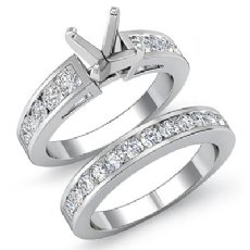 1.44 Ct Round Diamond Engagement Ring Bridal Set 14K White Gold Channel Setting