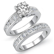 Bridal Set Channel Shank diamond Ring 14k Gold White