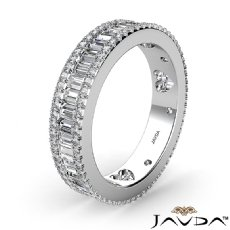 Women's Baguette Round Diamond Eternity Channel Set Wedding Band 14k White Gold