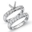 0.8Ct Round Diamond Women Engagement Ring Bridal Sets 14k White Gold Semi Mount - javda.com