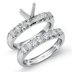0.80Ct Round Diamond Women Engagement Ring Bridal Sets 14K White Gold Semi Mount
