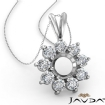 Flower Cluster Round Cut Semi Mount Double Bail Pendant 14k White Gold - javda.com