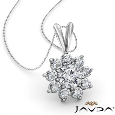 Flower Cluster Prong Set Round diamond  Pendant in 14k Gold White
