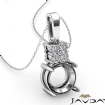 Claw Prong Round Cut Semi Mount Bail Pendant 14k White Gold - javda.com