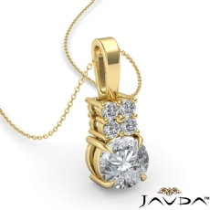 Claw Prong Bail Basket Set Round diamond  Pendant in 18k Gold Yellow