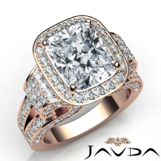 Tall Cathedral Vintage Halo Cushion diamond  Ring in 18k Rose Gold