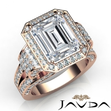 Tall Cathedral Vintage Halo Emerald diamond  Ring in 14k Rose Gold