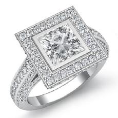 Vintage Halo Style Bezel Set Princess diamond engagement Ring in 14k Gold White