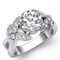 Floral Motif Sidestone Pave Round diamond engagement Ring in 14k Gold White